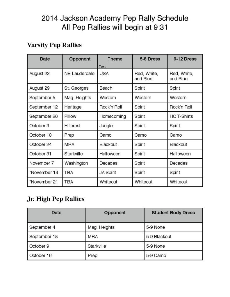 Pep Rally Themes 2014-2015